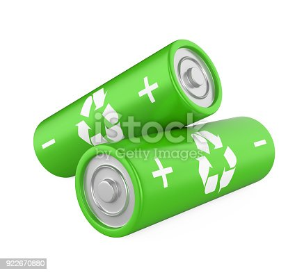 istock Green Batteries Isolated 922670880