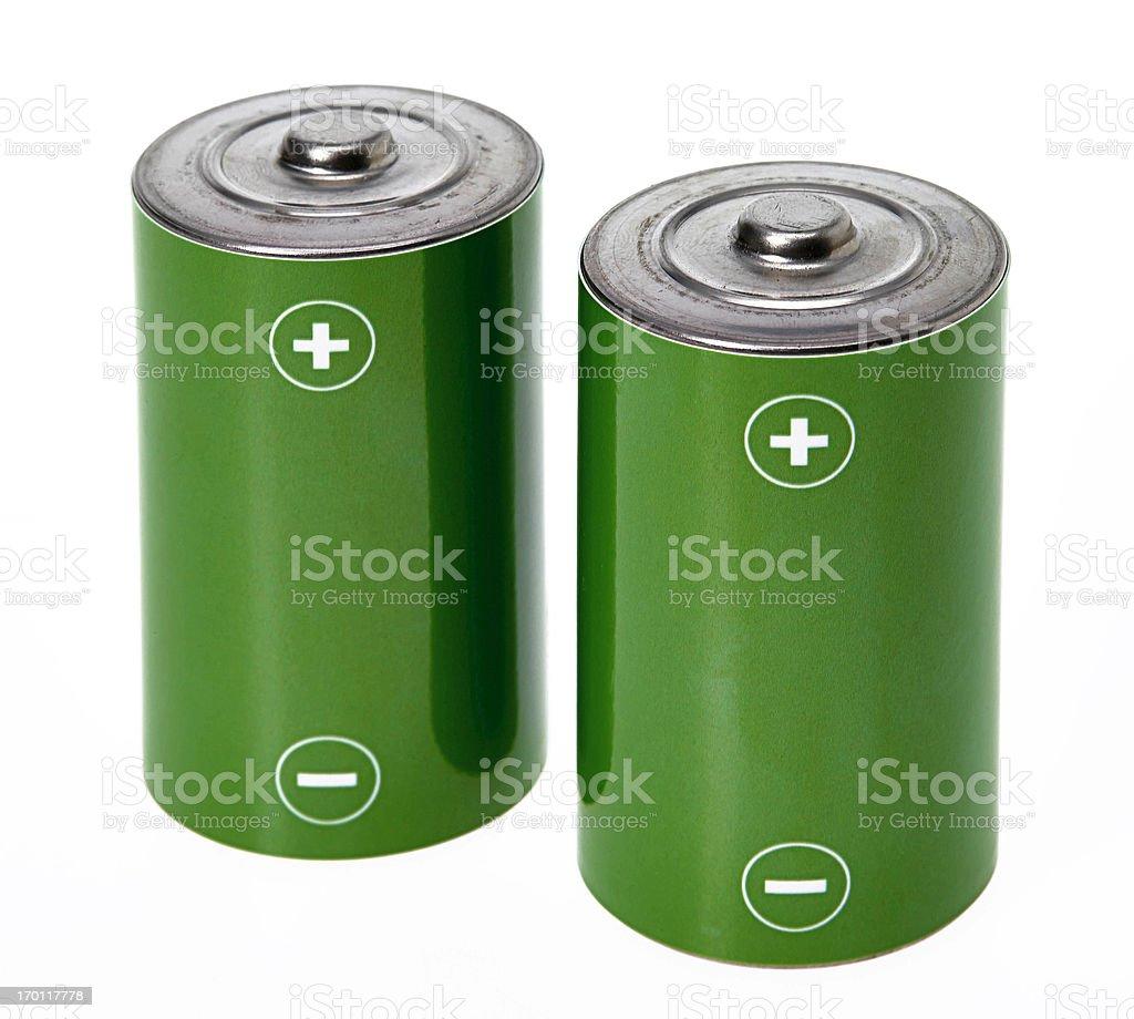 Green batteries stock photo