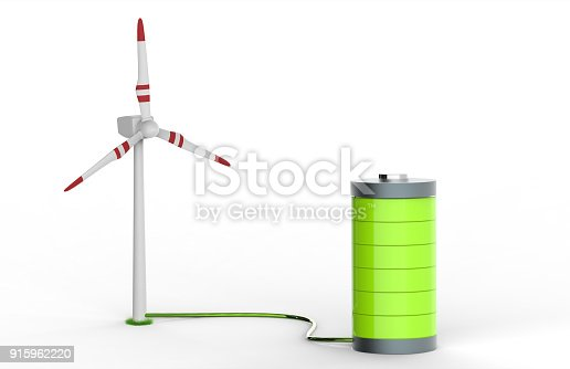 istock Green Battery charging on wind turbine 915962220