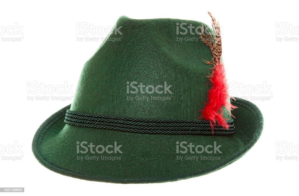 Green bavarian hat stock photo