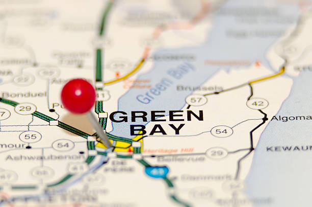 green bay city pin on the map stock photo