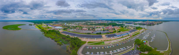 green bay panoramic in summer - green bay wisconsin stock photos and pictures