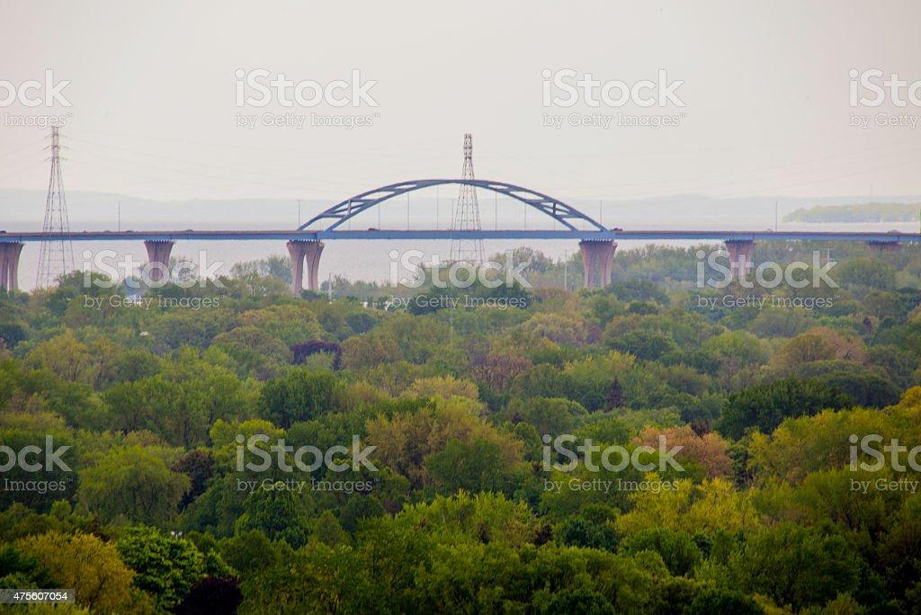 Green Bay Tower Drive Bridge Cityscape stock photo