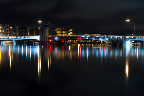 green bay urban cityscape long exposure downtown night shot - green bay wisconsin stock photos and pictures