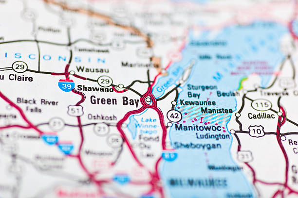 green bay, wi map - green bay wisconsin stock photos and pictures