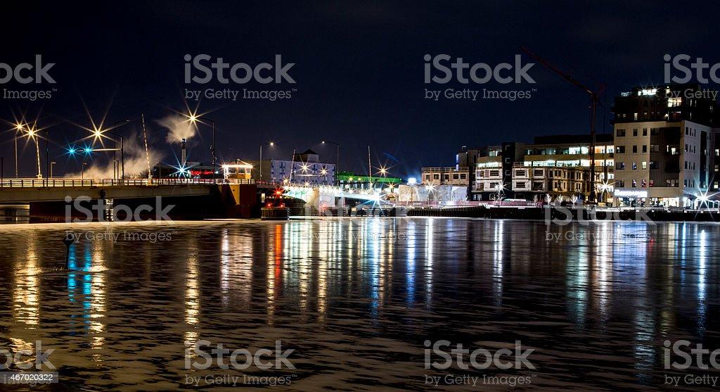 Green Bay Winter Skyline stock photo