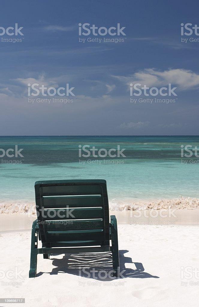 Green Beach Chair stock photo