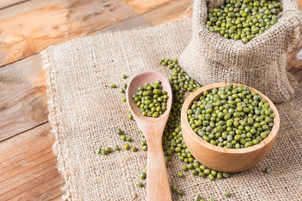 Green bean or mung bean background stock photo