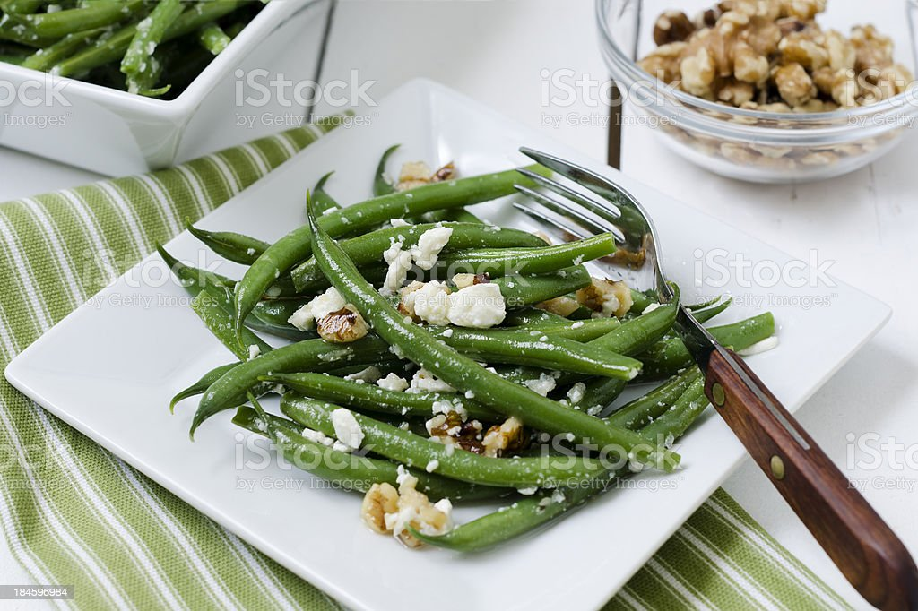 Green Bean Salad with Feta and Walnuts royalty-free stock photo