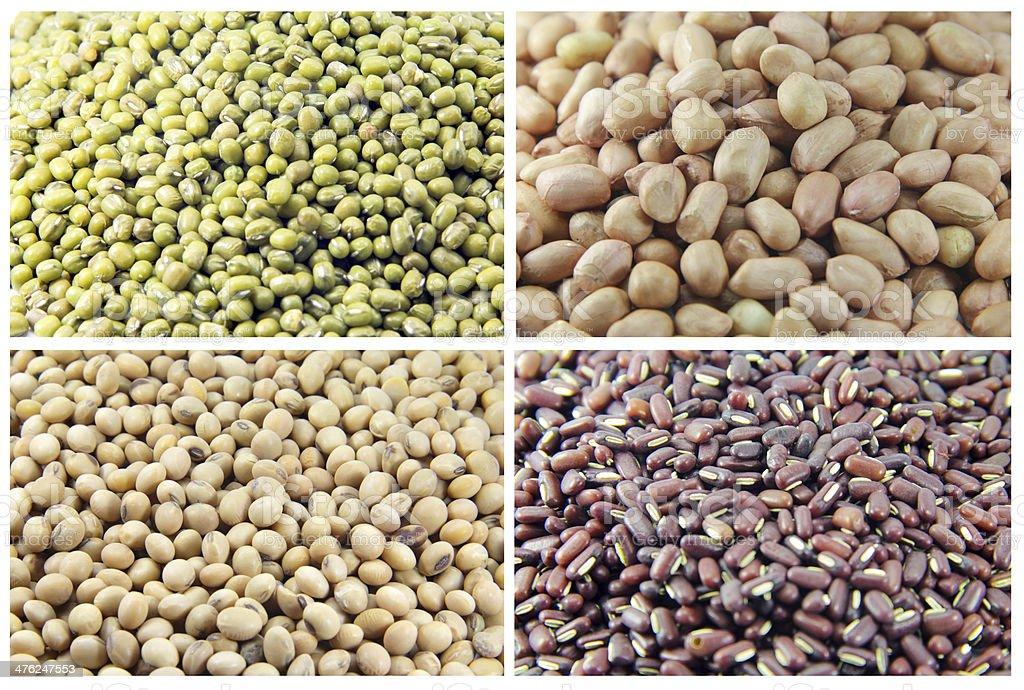 green bean-Peanuts-red bean-soy bean wall royalty-free stock photo
