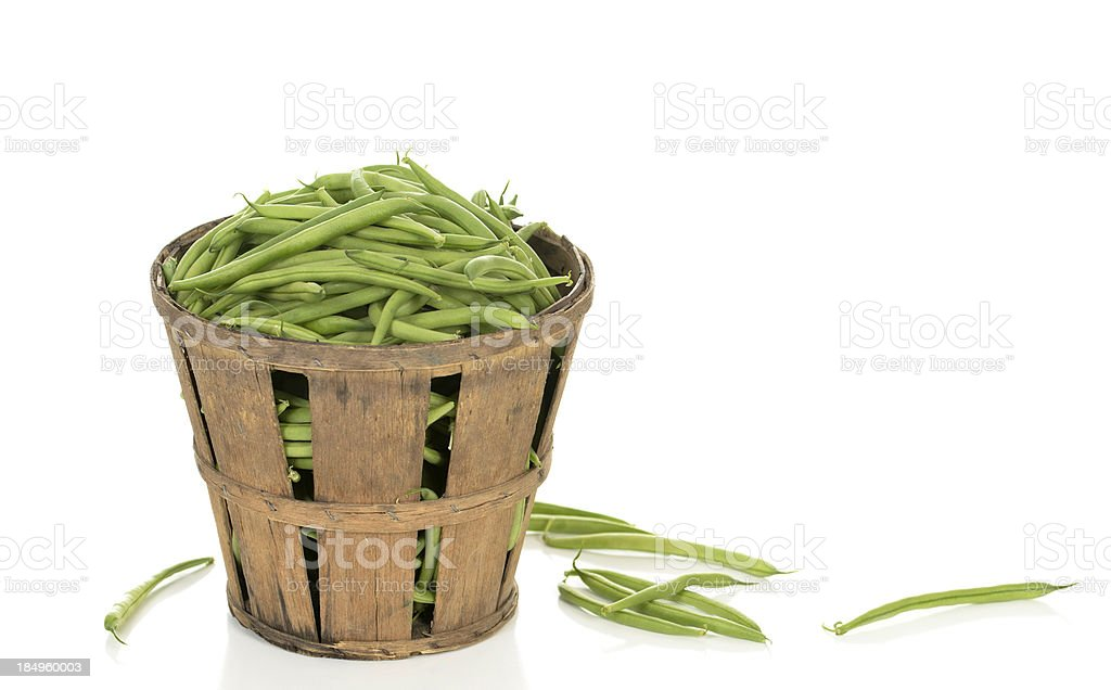 Green Beans in a Rustic Basket stock photo