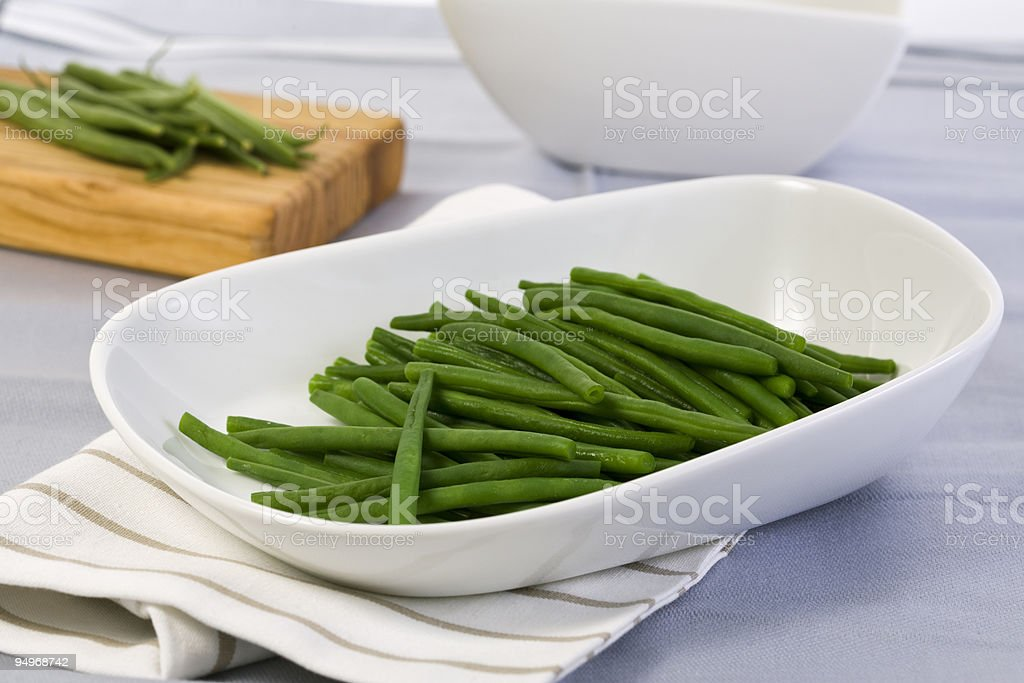 green beans in white bowl royalty-free stock photo