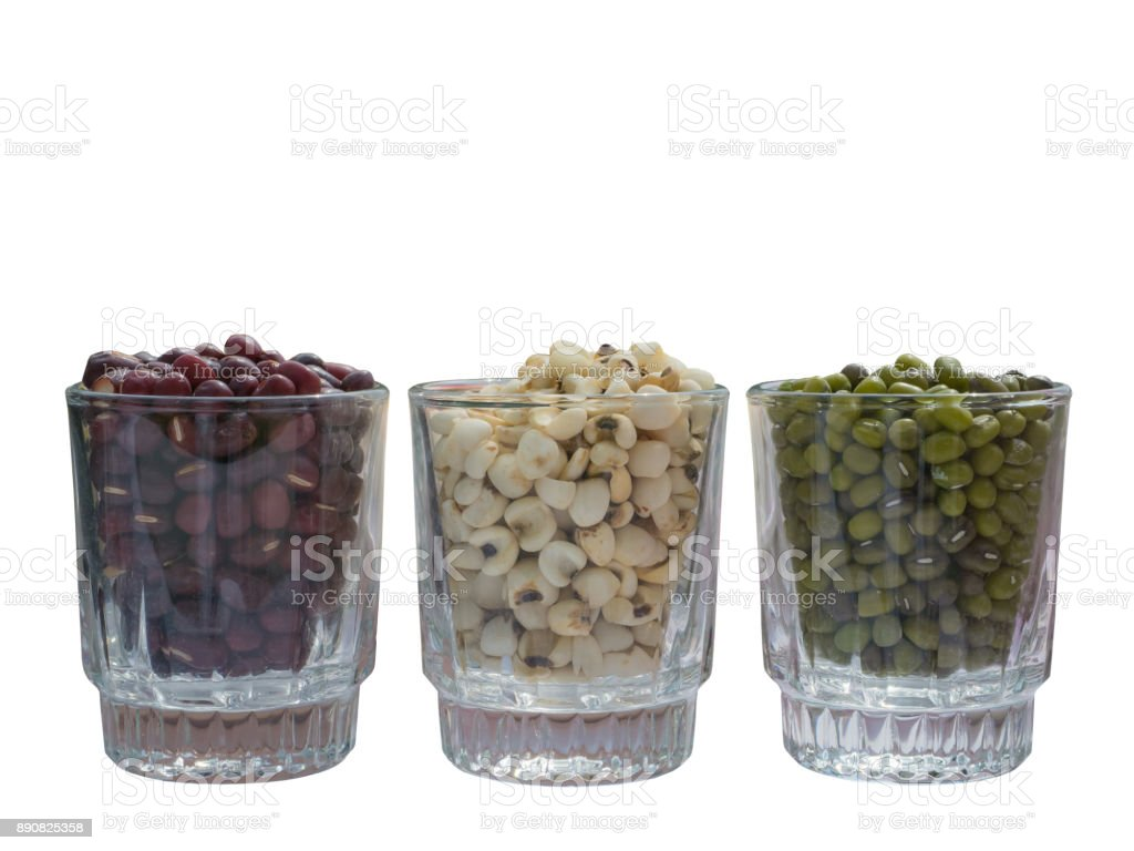 Green beans, red beans and millet in glass stock photo