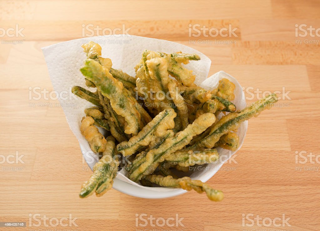 Green Beans Tempura in a Bowl stock photo