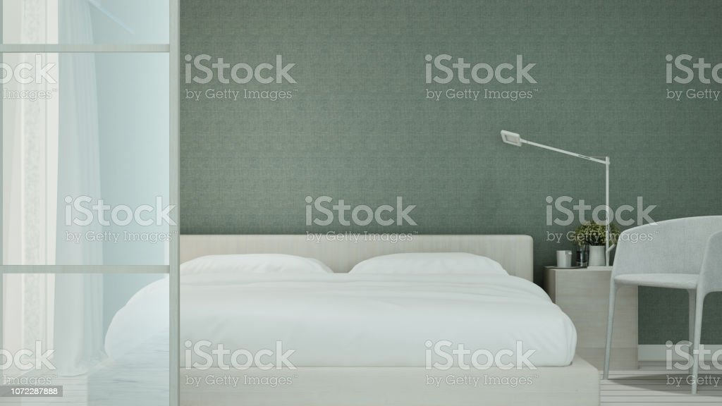 Green bedroom and living area in hotel or home on minimal design -...