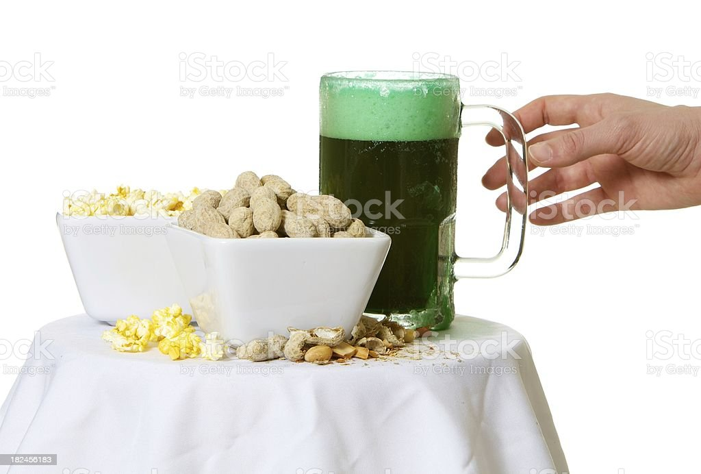 Green Beer And Snacks royalty-free stock photo