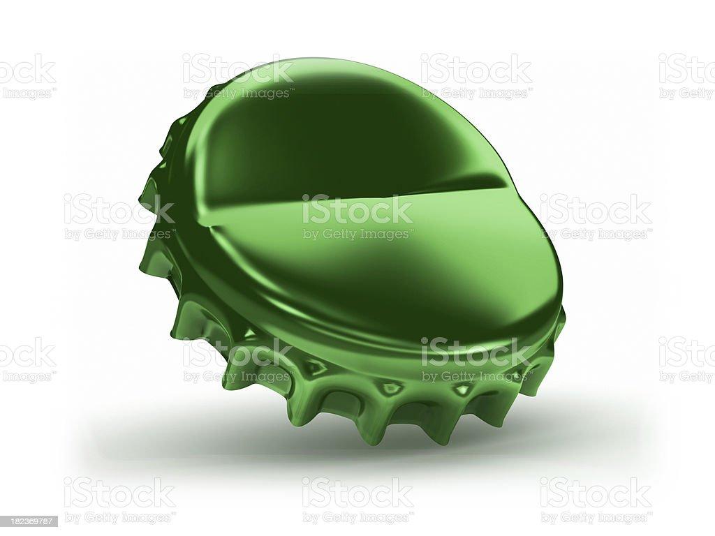 green beer bottle cap stock photo