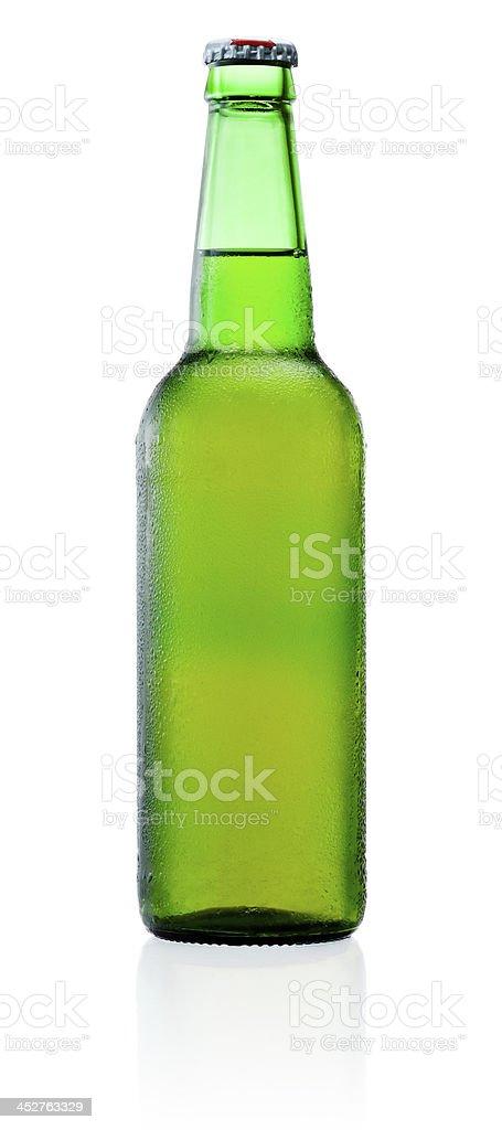 Verde Bottiglia Di Birra Con Umidità Isolato Su Sfondo Bianco