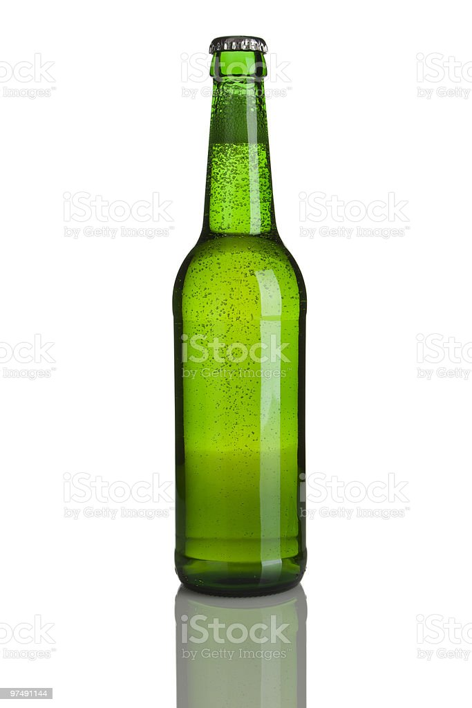 green beer bottle without label royalty-free stock photo