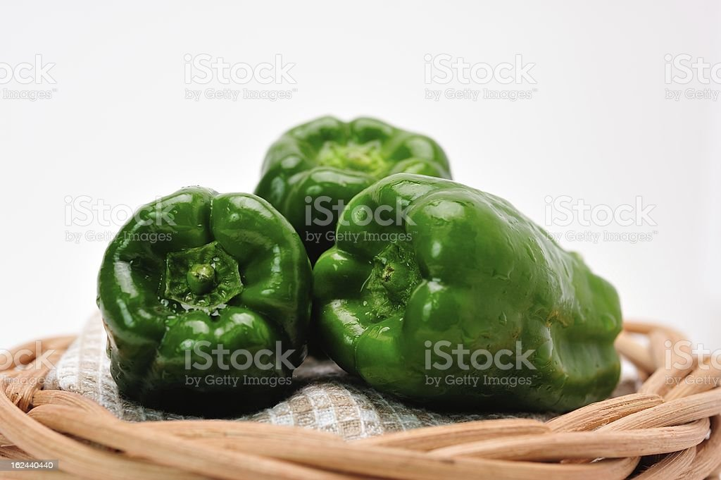 Green Bell Pepper and Basket royalty-free stock photo