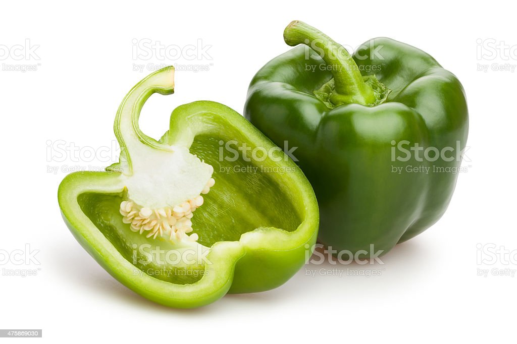 green bell pepper stock photo