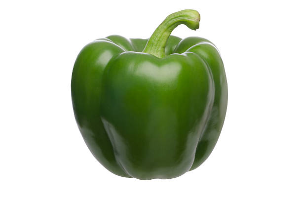 Green bell pepper with clipping path stock photo