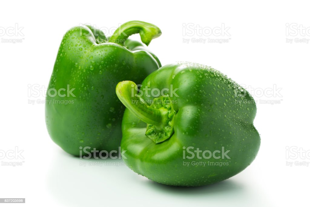 Green bell peppers stock photo