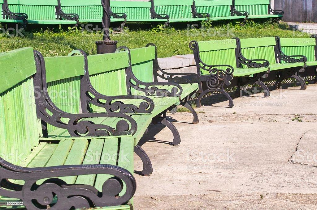 Banco verde Anfiteatro al aire libre - foto de stock