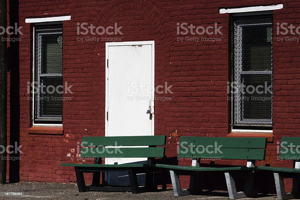 green benches royalty-free stock photo
