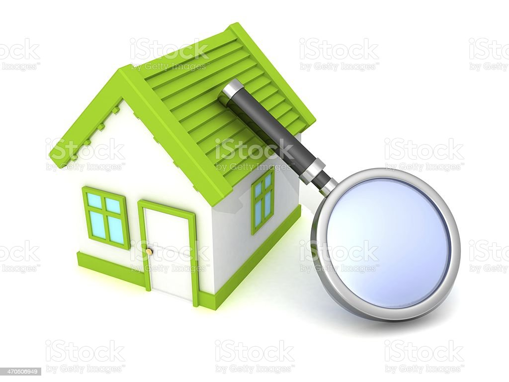 green best choice house with magnify search glass stock photo