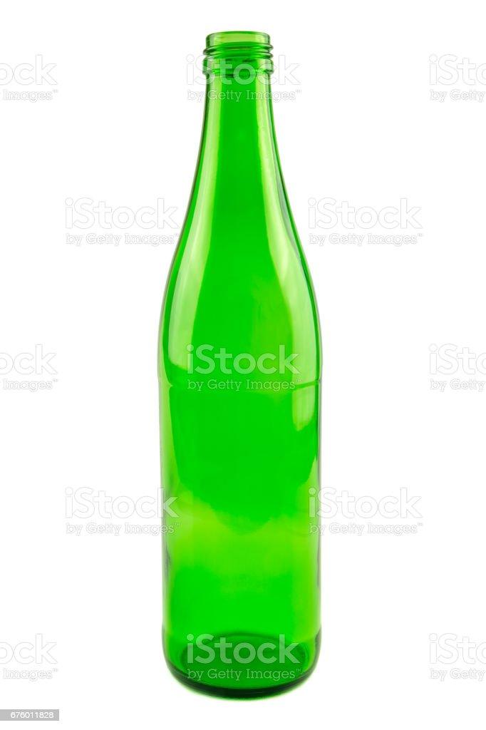 Green beverage bottle. Garbage example. stock photo