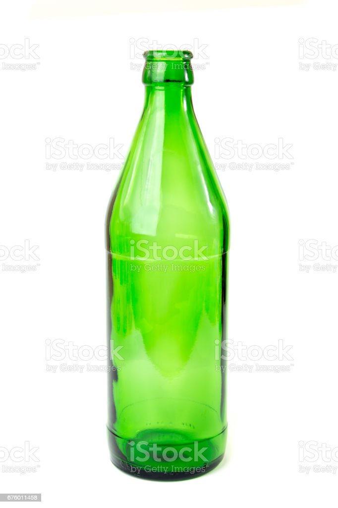 Green beverage glass bottle isolated stock photo