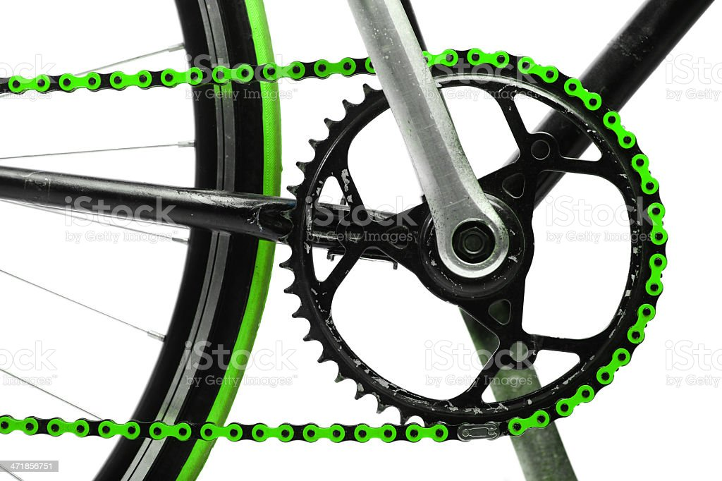 Green bicycle chain stock photo