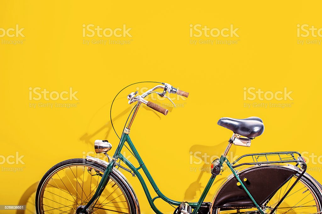 Green bicycle stock photo
