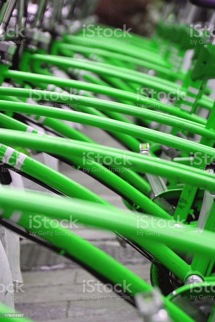 Green Bicycles stock photo