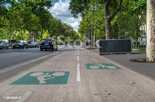 Paris, France - August 6, 2019: View of a bike path in the streets of the city of Paris, France.