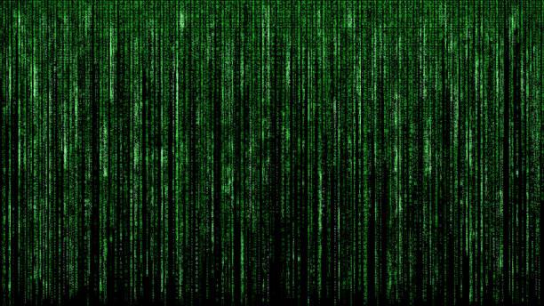 Grüne binäre Matrix-Code abstrakte Computer Hacker digitales Netzwerk schwarzen Hintergrund – Foto