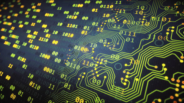 Green binary numbers with integrated circuit stock photo