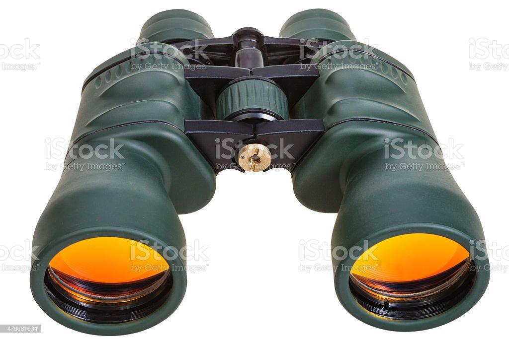 green binoculars with yellow glasses isolated stock photo