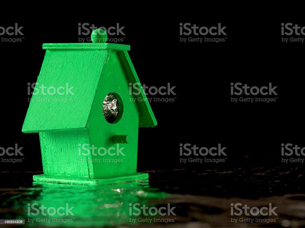 Green Bird Boat House stock photo