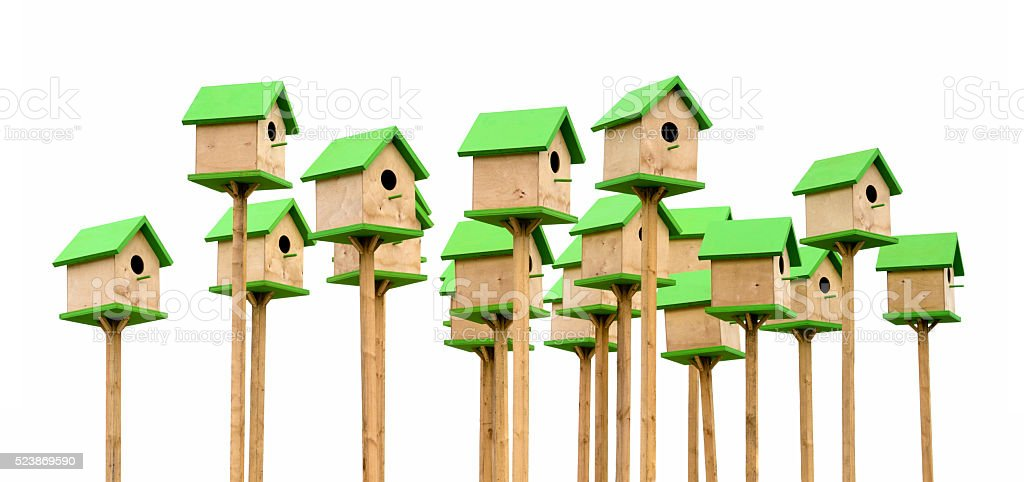 Green birdhouses stock photo