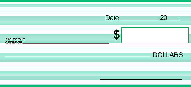 Green Blank Check can print to very large size stock photo
