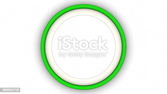 1144461291 istock photo Green blank circle frame and shadow on white background. 3d rendering 966904740