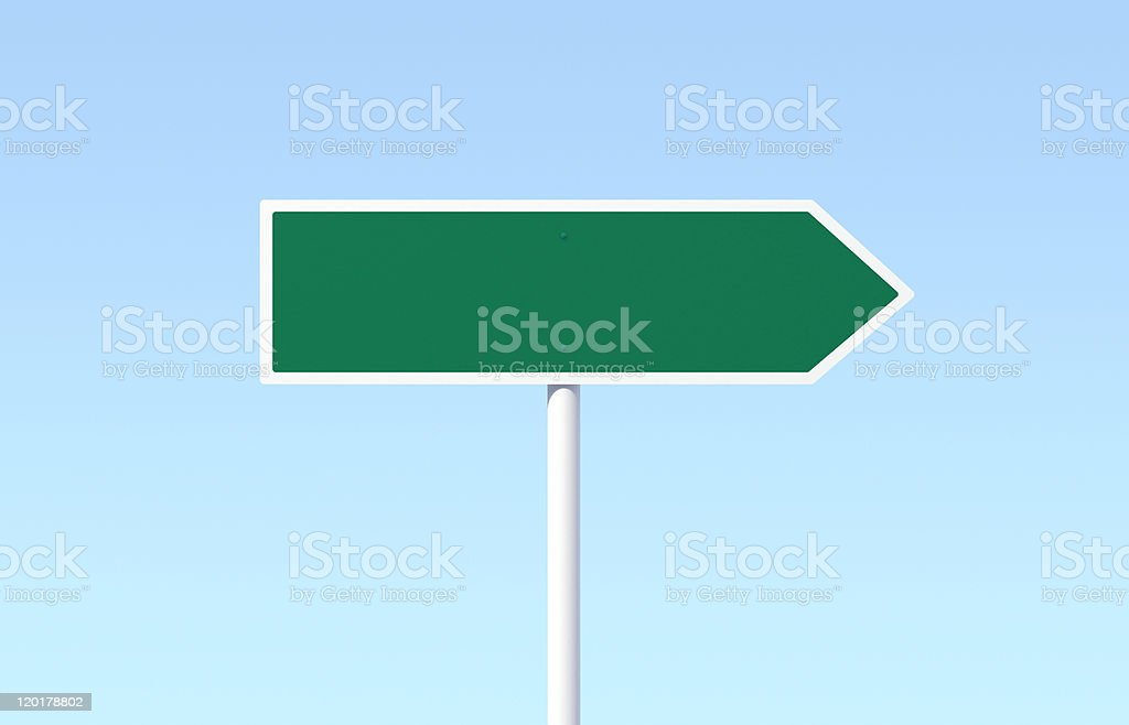 Green Blank Directional Arrow Road Sign royalty-free stock photo