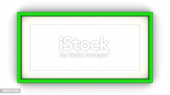 1144461291 istock photo Green blank frame and shadow on white background. 3d rendering 966904092