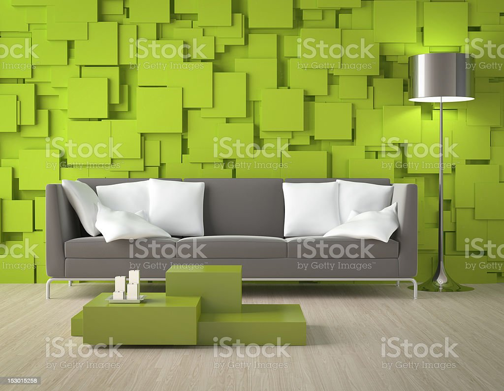 Green blocks wall and furniture royalty-free stock photo