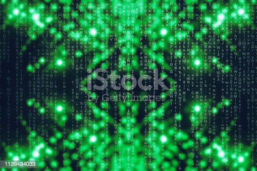 848353924istockphoto Green blue matrix digital background. Abstract cyberspace concept. Characters fall down. Matrix from symbols stream. Virtual reality design. Complex algorithm data hacking. Green digital sparks. 1139434033