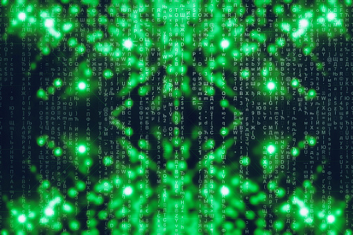 848353924 istock photo Green blue matrix digital background. Abstract cyberspace concept. Characters fall down. Matrix from symbols stream. Virtual reality design. Complex algorithm data hacking. Green digital sparks. 1139434033