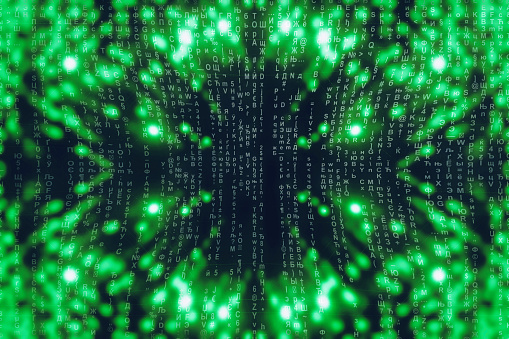 848353924 istock photo Green blue matrix digital background. Abstract cyberspace concept. Characters fall down. Matrix from symbols stream. Virtual reality design. Complex algorithm data hacking. Green digital sparks. 1139434038