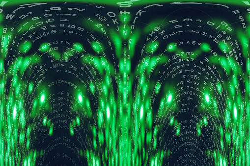 848353924 istock photo Green blue matrix digital background. Distorted cyberspace concept. Characters fall down. Matrix from symbols stream. Virtual reality design. Complex algorithm data hacking. Green digital sparks. 1139434030